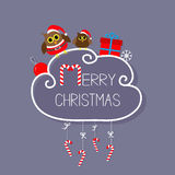 Two owls in Santa hat, giftbox, snowflake, ball. Merry Christmas card.  Stock Images
