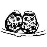 Two owls. Sitting on a branch in winter (abstraction) stock illustration