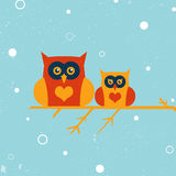 Two owls. On the tree. Winter owls. EPS 10 vector illustration for design. All in a single layer. Snow landscape background Royalty Free Stock Photography