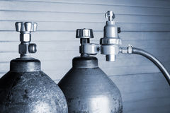 Two oxygen cylinders Royalty Free Stock Photography
