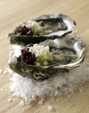 Two oysters. Oyster with cucumber , beetroot and horseradish Royalty Free Stock Images