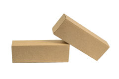 Two package brown cardboard box for long items. Mockup, isolated Royalty Free Stock Photo