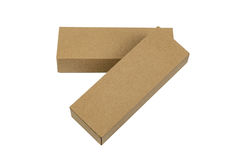Two package brown cardboard box for long items. Mockup, isolated Stock Photography