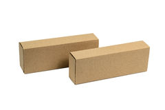 Two package brown cardboard box for long items. Mockup, isolated Stock Image