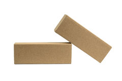 Two package brown cardboard box for long items. Mockup, isolated Stock Images