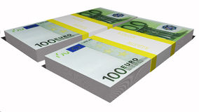 Two packs of euro bills Royalty Free Stock Image