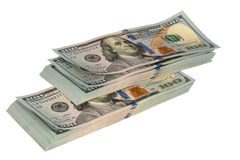 Two packs of money. On a white background stock photos