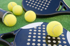 Two paddle tennis rackets and balls Royalty Free Stock Photo
