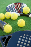 Two paddle tennis rackets and balls and tube. Stock Photos