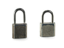 Two padlocks. On a white background royalty free stock photo