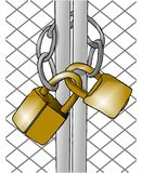 Two padlocks. This illustration that I create depicts two padlocks and chain around a gate Stock Photography