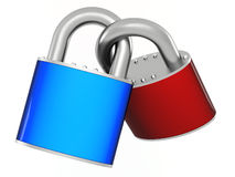 Two padlocks. United between itself on white background Royalty Free Stock Photo