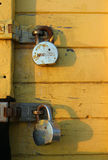 Two Padlocks. Rusty padlocks on a seaside beach hut Royalty Free Stock Images
