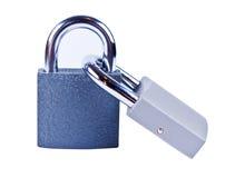Two padlocks isolated. Two padlocks on white background isolated close up Stock Photos