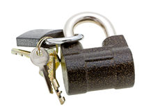 Two padlocks and keys isolated on white Royalty Free Stock Photos