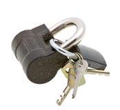 Two padlocks and keys on white Royalty Free Stock Photo