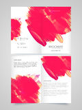 Two page Brochure, Template or Flyer for Business. Abstract paint strokes decorated, Two Page Brochure Template or Flyer presentation for your Business Royalty Free Stock Photos