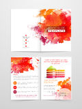 Two page Brochure, Template or Flyer for Business. Colorful splash and infographic element decorated Professional Brochure, Template or Flyer design with front Stock Photo