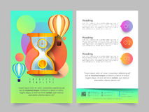 Two Page Brochure, Template or Flyer for Business. Creative Two Page Brochure, Template or Flyer design with illustration of sand clock and hot air balloons for Royalty Free Stock Photography
