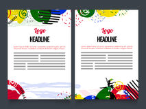 Two Page Brochure, Template or Flyer design. Creative Two Page Brochure, Template or Flyer presentation with colorful abstract design Stock Photos