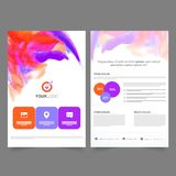 Two page Brochure, Template for Business. Two page professional Brochure, Template design with colorful brush strokes for Business concept Royalty Free Stock Photography
