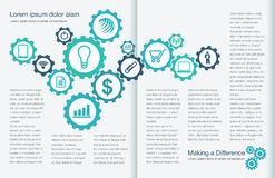 Two Page Spread Layout Template. Tasteful Two Page Spread Layout Template  for Print or Web Stock Photos