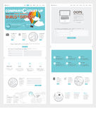 Two page Website design template with concept icons and avatars for business company portfolio. Set of two flat pages website design templates with banners and Stock Image