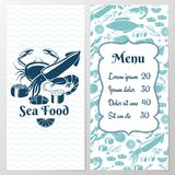 Two Paged Blue Fish Menu with Graphic. And Space for Text Stock Image