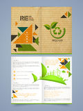 Two pages brochure, flyer or template for business. Vintage two pages Ecological brochure, template or flyer design with recycling process and place holder for Royalty Free Stock Photos