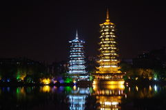 Two Pagodas in Guilin Royalty Free Stock Image