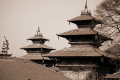 Two pagodas towers in durbar square Stock Photography