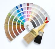 Two paint brush and color chart. Isolated royalty free stock photos