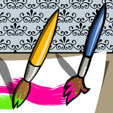 Two Paint Brush painting Royalty Free Stock Photo