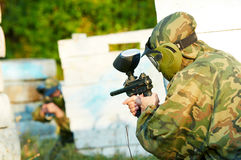 Two paintball players Stock Photography
