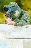 Two paintball players Royalty Free Stock Image