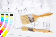 Two paintbrushes and color guide Royalty Free Stock Photography