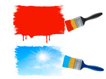 Two paintbrushes painting banners - red paint bann Stock Photo