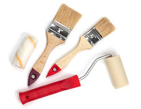 Two paintbrushes and roller Royalty Free Stock Photos
