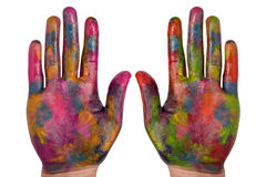 Two painted colorful hands Royalty Free Stock Images