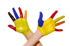 Two painted hands with clipping path Stock Photography
