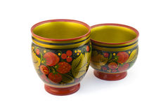 Two painted wooden cup. Two painted under khokhloma wooden cup Royalty Free Stock Images