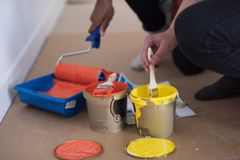 Painters prepare color for painting Royalty Free Stock Photo