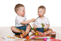 Two painting children Stock Photography