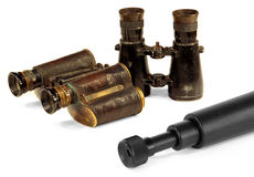 Two pair of binoculars and telescopes Stock Image