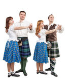 Two pair of dancers of Scottish dance Stock Photography