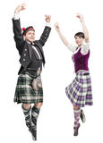 Two pair of dancers of Scottish dance Stock Photos
