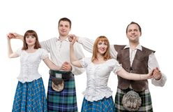 Two pair of dancers of Scottish dance. Isolated Royalty Free Stock Photos