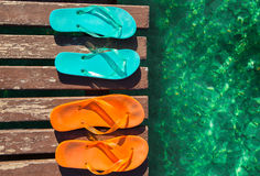 Two pair of flip-flops Royalty Free Stock Photos