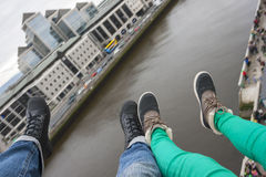 Two pair of foot over Dublin Stock Photography