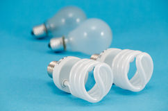 Two pair of light bulbs  new fluorescent heat bulb Royalty Free Stock Photos